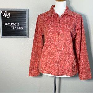Vintage Swirl Embroidered Red Denim Jacket Med
